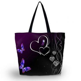 Huado nákupní a plážová taška - Dvojité srdce