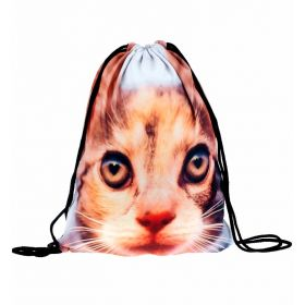 Plátěný vak s 3D potiskem Hnědá kočka