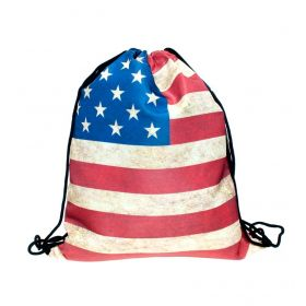 Plátěný vak s 3D potiskem USA vlajka