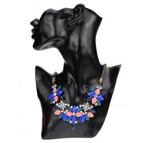 Dámský Masivní květinový náhrdelník modrý