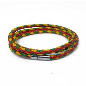 Kožený pletený náramek barevný