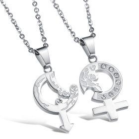 Ocelové přívěsky pro dvojici Afrodita silver