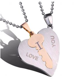 Ocelové přívěsky pro pár Srdce s klíčem