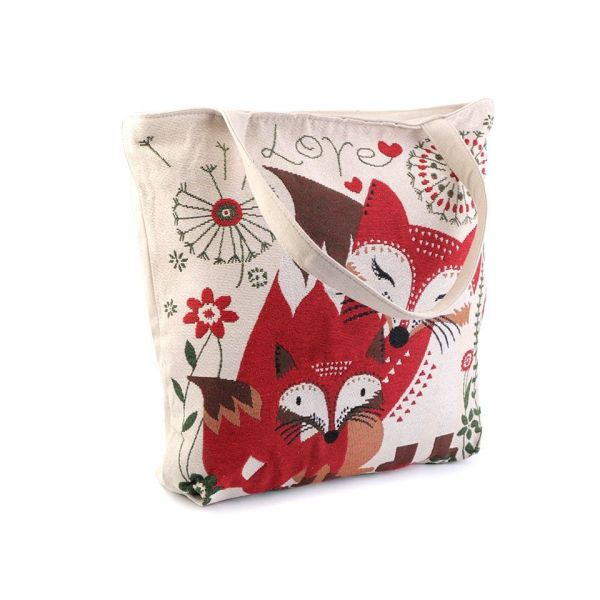 Lněná nákupní nebo plážová taška Lišky - foxstyle.cz b7d6b3b0226