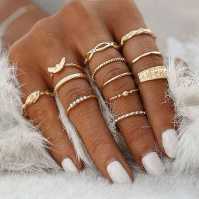 Sada Bohém prstenů 12ks Měď