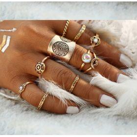 Sada Bohém prstenů 9ks Antique