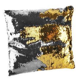 Flitrový polštář 37x37 zlato-stříbrný