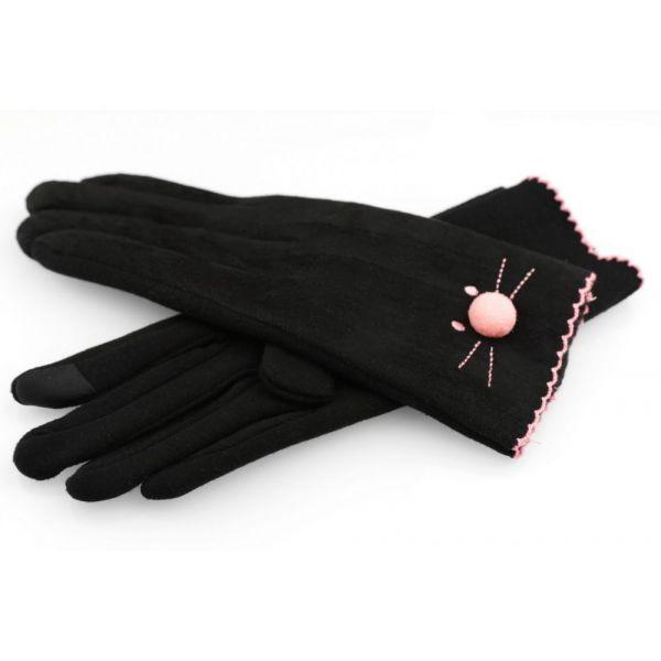 9b6aad1237a Dámské rukavice s vyšívanou kočkou Černé - foxstyle.cz