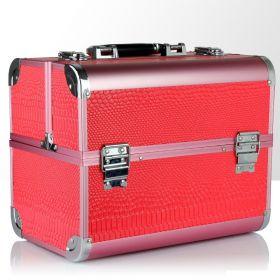 BMD rozkládací kosmetický kufr Červeno-růžový krokodýl