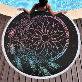 Kruhová plážová osuška Boho Černá tma