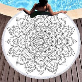 Kruhová plážová osuška Boho Bílá mandala