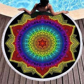 Kruhová plážová osuška Barevná mandala