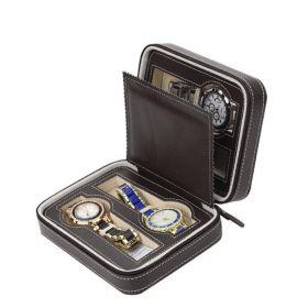 Úložný box na hodinky 4 komory Černý