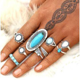 Sada Bohém prstenů 8ks Blue Antique Holo