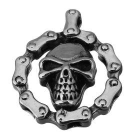 Přívěsek z chirurgické oceli - Skull Biker Chain