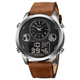 SKMEI 1653 duální hodinky Big Face Stříbno Hnědé