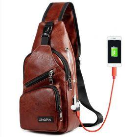 JINGPIN batoh přes jedno rameno s USB Tmavě hnědý