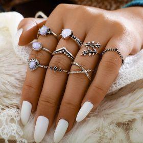 Sada Bohém prstenů 9ks Holo infinity stříbrné