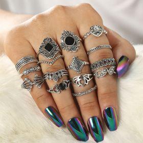 Sada Bohém prstenů Antique 15ks Inessa