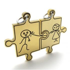 Double přívěšek puzzle panáček a panenka 3